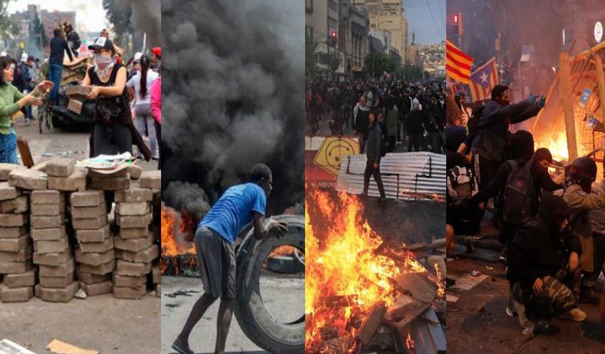Grandes protestos explodem em vários países